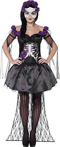 Day of the Dead Senorita Costume, Black, Printed Top, Skirt, Rose Headband & Latex Mask -  (Size: UK Dress 12-14)