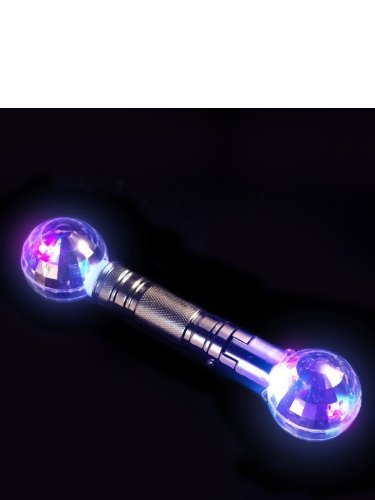 Mini Double Ended Disco Baton, Silver, Light Up, 26cm / 10in