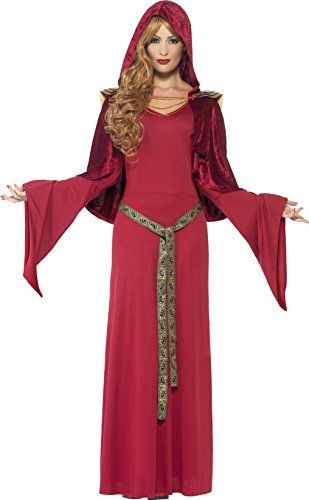 High Priestess Costume, Red, with Dress, attached Belt and Hooded Cape -  (Size: UK Dress 8-10)