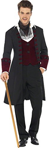 "Male Fever Gothic Vamp Costume, Black, with Coat, Mock Waistcoat and Cravat -  (Size: Chest 42""-44"", Leg Inseam 33"")"