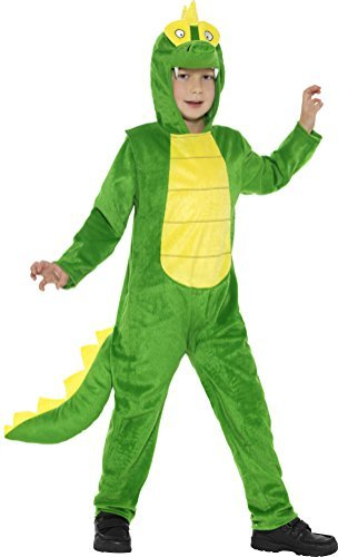 Deluxe Crocodile Costume, Green, with Hooded Jumpsuit & Tail -  (Size: Large Age 10-12)