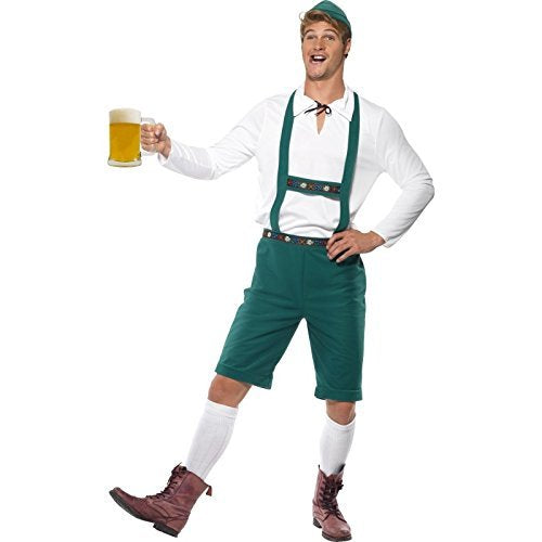 "Oktoberfest Costume, Green, Lederhosen Shorts with Braces, Top and Hat -  (Size: Chest 42""-44"", Leg Inseam 33"")"