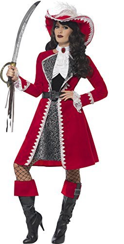 Deluxe Authentic Lady Captain Costume, Red, with Dress, Jacket, Neck Tie & Boot Covers -  (Size: UK Dress 20-22)