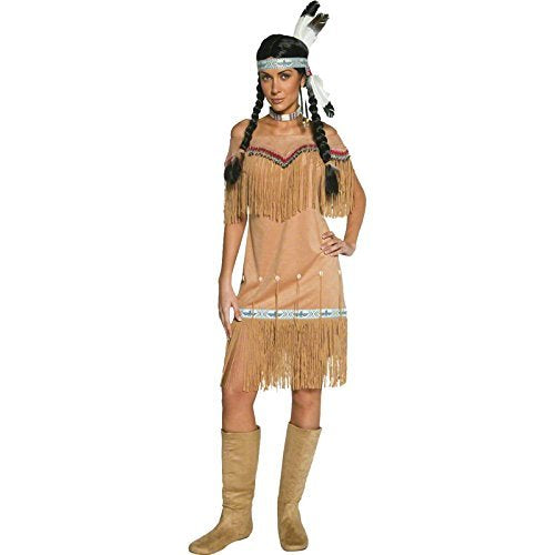 Native American Inspired Lady Costume, Beige, with Dress and Fringing -  (Size: UK Dress 12-14)