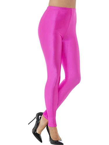 - 80s Disco Spandex Leggings, Neon Pink -  (Size: UK Dress 8-10) COST-UNI