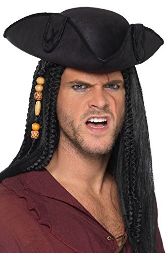 `Tricorn Pirate Captain Hat, Black, with PU Trim`