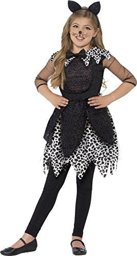 Deluxe Midnight Cat Costume, Black, with Dress, Tail & Cat Ear Headband -  (Size: Medium Age 7-9)