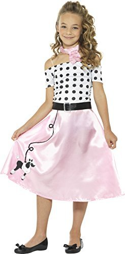 50s Poodle Girl Costume, Pink, with Dress, Neck Tie & Belt -  (Size: Large Age 10-12)