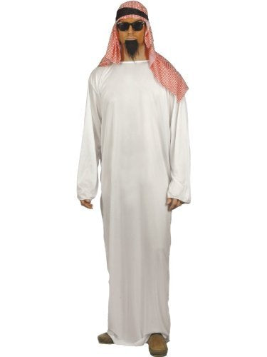 "Fake Sheikh Costume, White, with Long Tunic & Headdress -  (Size: Chest 38""-40"", Leg Inseam 32.75"")"
