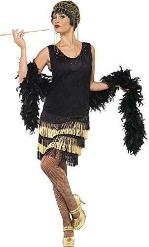 1920s Fringed Flapper Costume, Black, includes Dress with Lace Front and Beaded Fringing -  (Size: UK Dress 16-18)