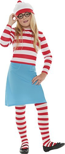 Where's Wally? Wenda Child Costume, Red & White, with Hat, Top, Skirt, Glasses & Tights -  (Size: Medium Age 7-9)
