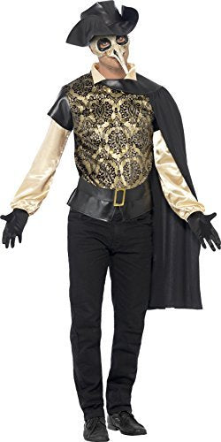 "Plague Doctor Costume, Black, with Top, Cloak, Gloves & Mock Leather Hat -  (Size: Chest 42""-44"", Leg Inseam 33"")"