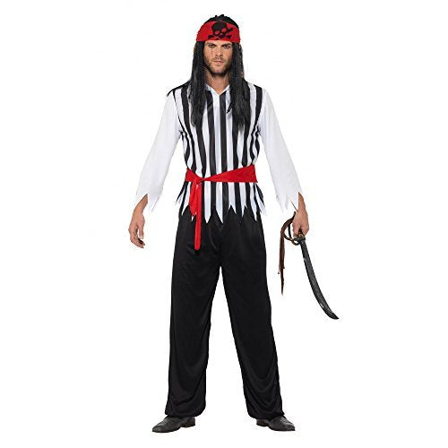 Pirate Costume, Black, with Top, Trousers, Belt & Bandana -  (Size: Chest 38`-40`, Leg Inseam 32.75`)