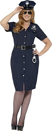 Curves NYC Cop Costume, Blue, with Dress, Belt & Hat -  (Size: UK Dress 16-18)