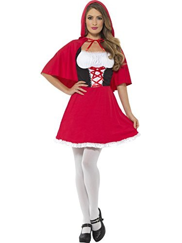 Red Riding Hood Costume, Red, with Short Dress & Cape -  (Size: UK Dress 20-22)