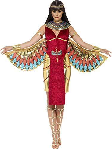 Egyptian Goddess Costume, Red, with Dress, Wings, Collar & Headpiece -  (Size: UK Dress 12-14)