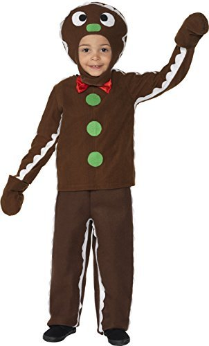 Little Gingerbread Man Costume, Brown, with Top, Trousers & Headpiece -  (Size: Small Age 4-6)