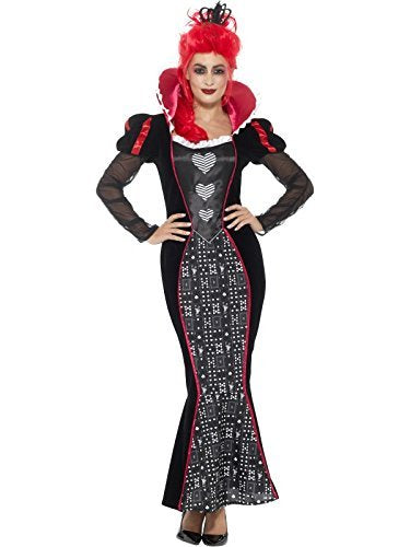 Deluxe Baroque Dark Queen Costume, Red, with Dress & Headband -  (Size: UK Dress 8-10)