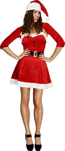 Fever Santa Babe Costume, Red, with Dress, Hat, Shrug and Belt -  (Size: UK Dress 12-14)