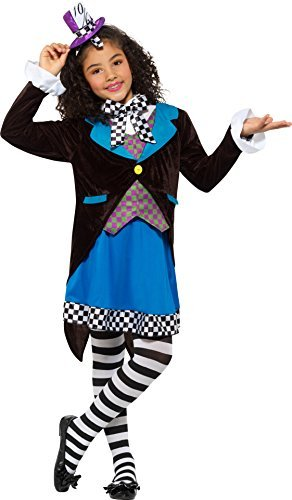 Little Miss Hatter Costume, Multi-Coloured, with Dress, Attached Waistcoat, Cravat & Top Hat -  (Size: Small Age 4-6)