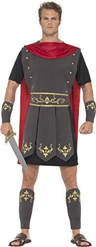 "Roman Gladiator Costume, Black, with Tunic, Attached Cape, Arm Cuffs & Leg Cuffs -  (Size: Chest 34""-36"")"