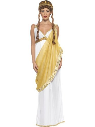 Helen of Troy Costume, White & Gold, Dress and Tiara -  (Size: UK Dress 12-14)