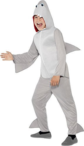- Shark Costume, Grey, All In One with Hood & Fins -  (Size: Large Age 10-12) COST-UNI