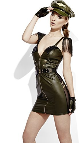 Fever Role-Play Military Chief Wet Look Costume, Khaki, with Dress, Hat, Belt & Gloves -  (Size: UK Dress 4-6)