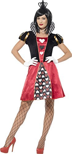 Carded Queen Costume, Red, with Dress, Crown & Gloves -  (Size: UK Dress 4-6)