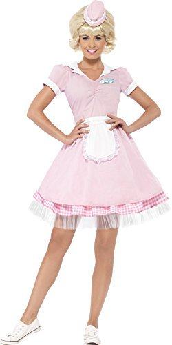 50s Diner Girl Costume, Pink, with Dress & Mini Hat -  (Size: UK Dress 4-6)