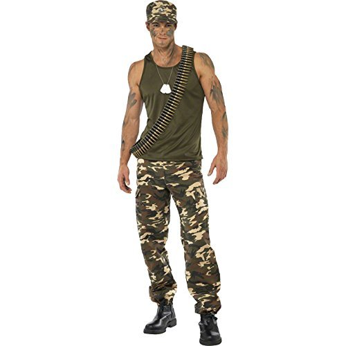 "Khaki Camo Deluxe Costume, Male, Khaki Green, includes Vest and Trousers -  (Size: Chest 38""-40"", Leg Inseam 32.75"")"