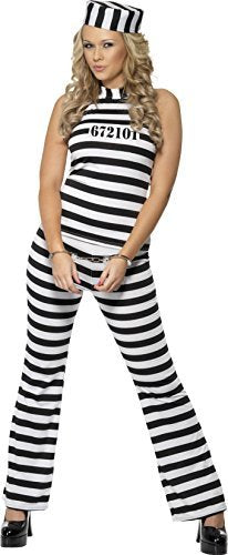 Convict Cutie Costume, Black & White, with Top, Trousers & Hat -  (Size: UK Dress 12-14)