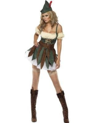 Fever Outlaw Warrior Costume, Green, with Dress, Sleeves, Hat and Belt -  (Size: UK Dress 4-6)