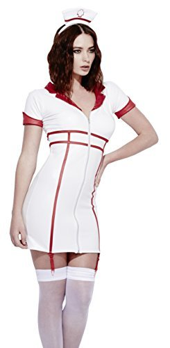 Fever Role-Play Nurse Wet Look Costume, White, with Dress, Detachable Suspenders & Headpiece -  (Size: UK Dress 8-10)