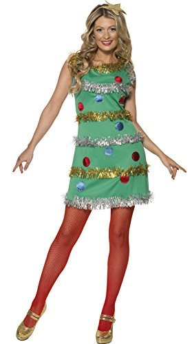 Christmas Tree Costume, Green, with Dress & Headband -  (Size: UK Dress 16-18)