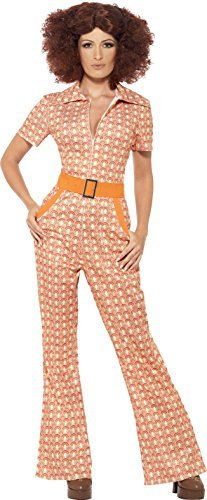 Authentic 70s Chic Costume, Orange, with Jumpsuit -  (Size: UK Dress 16-18)