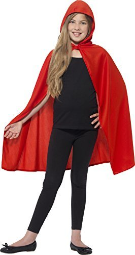 Hooded Cape, Red -  (Size: Small/Medium Age 4-7)