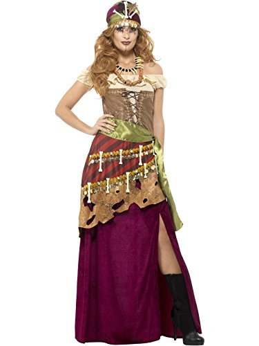 Deluxe Voodoo Priestess Costume, Multi-Coloured, with Dress, Sash, Hat & Necklaces -  (Size: UK Dress 12-14)