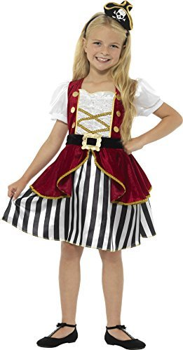 Deluxe Pirate Girl Costume, Red & Black, with Dress & Hat -  (Size: Medium Age 7-9)