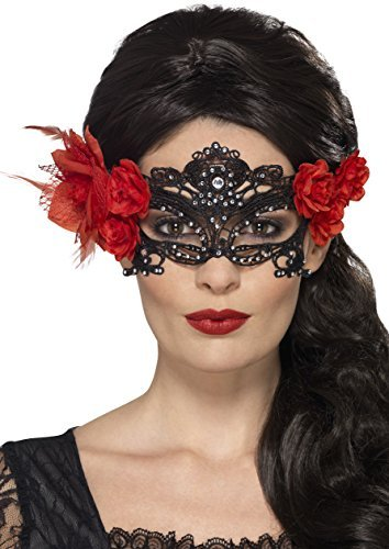 Day of the Dead Lace Filigree Eyemask, Black, with Roses