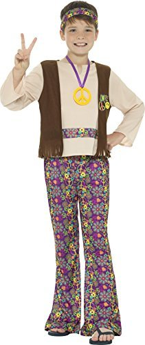 Hippie Boy Costume, Multi-Coloured, with Top, Attached Waistcoat, Trousers, Medallion & Headband -  (Size: Medium Age 7-9)