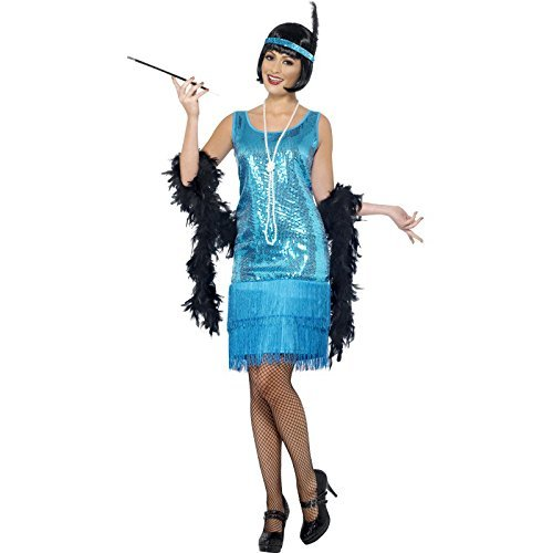 Flirty Flapper Costume, Teal, with Dress, Headpiece and Necklace -  (Size: UK Dress 12-14)