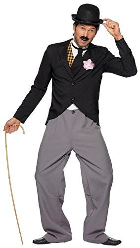 "1920s Star Costume, Black, with Jacket, Trousers, Mock Waistcoat and Tie -  (Size: Chest 42""-44"", Leg Inseam 33"")"
