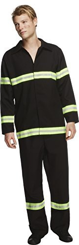 "Fever Fireman Costume, Black, Jacket and Trousers -  (Size: Chest 38""-40"", Leg Inseam 32.75"")"
