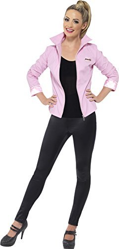 Grease Deluxe Pink Ladies Jacket, Pink, with Jacket & Name Badges -  (Size: UK Dress 12-14)