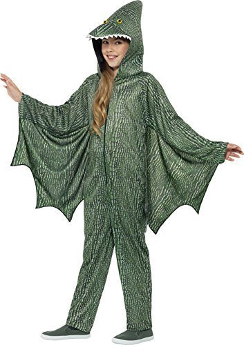 Pterodactyl Dinosaur Costume, Green, with Hooded All in One & Attached Wings -  (Size: Large Age 10-12)