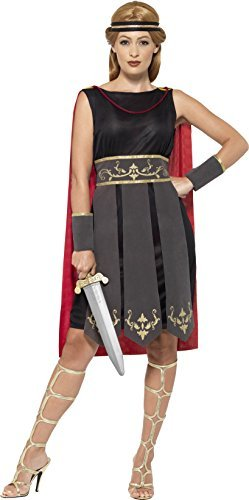 Roman Warrior Costume, Black, with Dress, Attached Cape, Arm Cuffs & Headband -  (Size: UK Dress 4-6)