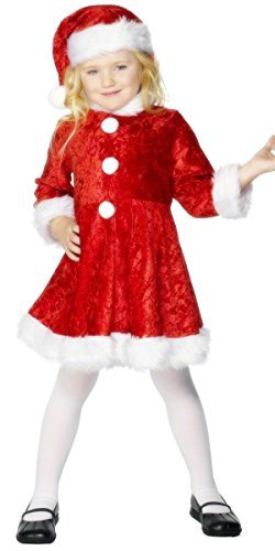 Mini Miss Santa Costume, Red, with Dress & Hat -  (Size: Medium Age 7-9)