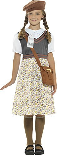Evacuee School Girl Costume, Grey, with Dress, Hat, Bag & Name Tag -  (Size: Tween 12+)