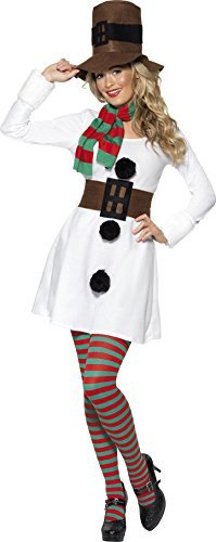 Miss Snowman Costume, White, with Dress, Hat, Scarf & Belt -  (Size: UK Dress 8-10)
